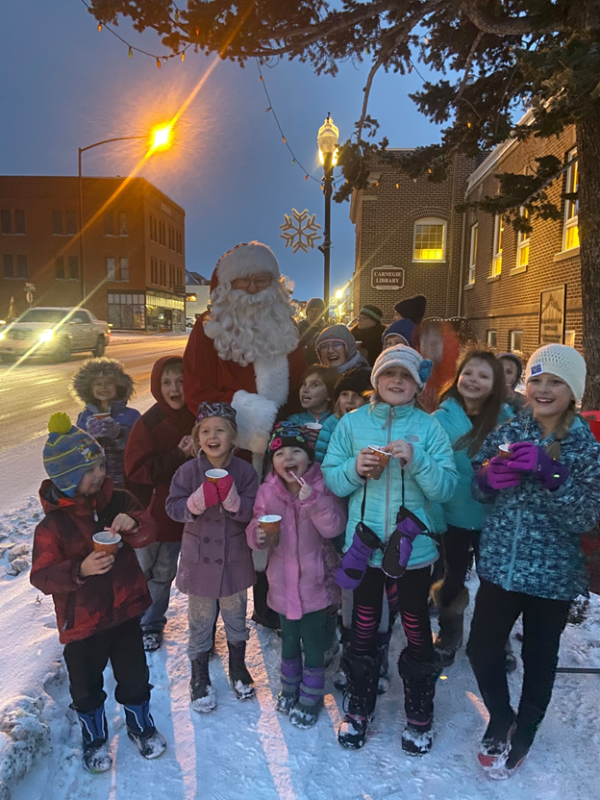 Kids outside with Santa